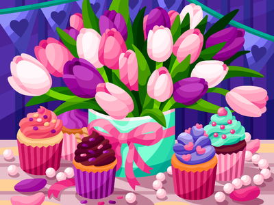 Cute Tulips and cupcakes valentine day womans day birthday holiday petal gift pearls stilllife illustration vector flowers bouquet cupcakes cupcake tulips