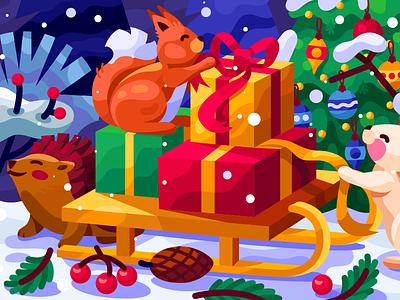 We are already full of the Christmas magic vector illustration web graphic christmas mood christmas card sledge gifts christmas party christmas tree snowman rabbit squirrel hedgehog 2020 new year xmas christmas