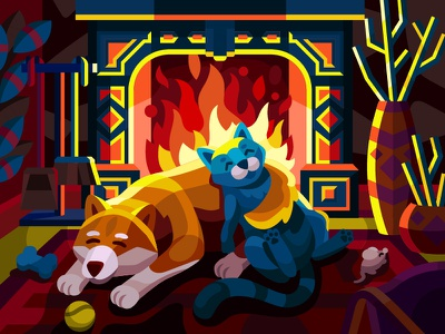 Warm friendship vector illustration couple family hugs cuddling holidays pets animals warm space friendship cat and dog evening room coziness fire mouse dog cat fireplace