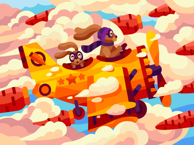 When you are a little dreamer carrot juice cloudy vector illustration dreaming fathersday father son pilot airline plane carrots clouds rabit parent dream