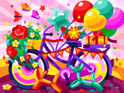 Magic courier the bike party gallery birthday colorful illustration vector ornaments balloon animal bicycle butterfly balloons cake gifts bike