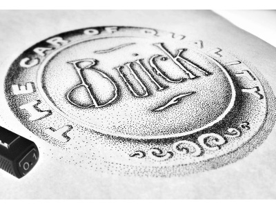 Vintage Buick Emblem  pointillism logo emblem handmade dotwork