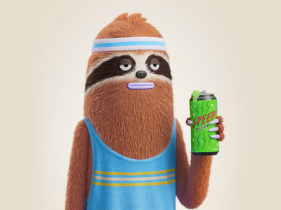 Sloth fitness character 3d