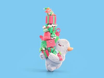 Happy Holidays christmas characters elf yeti cgi 3d animation