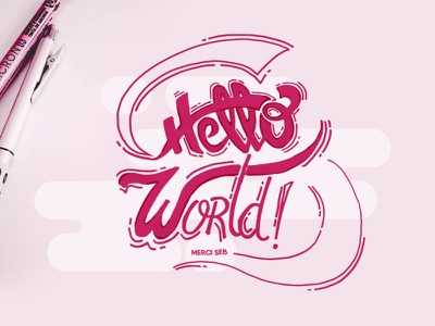 Hello World lettering world hello