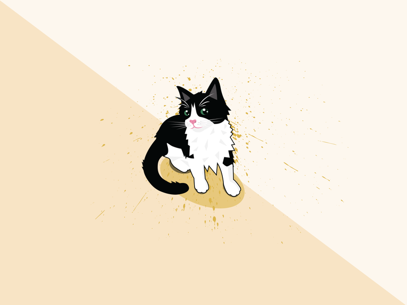 Tuxedo Cat Portrait design illustration