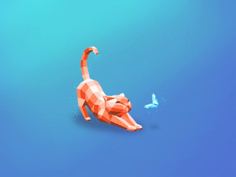 Kitty & Butterfly digital art design vector illustration