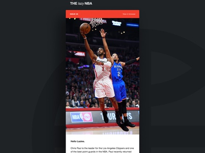 Issue 26 - NBA's Unluckiest Superstar lazy sports nba template minimal simple email