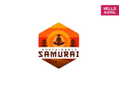 Sustainable Samurai colorful tokio japanese branding brand funny samurai japan logotype debut illustration logo