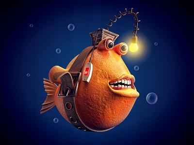 Deep Sea 3d fish deep sea lights switch