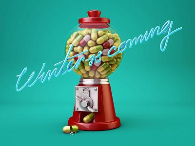 Winter is coming 3d c4d pills illustration machine type