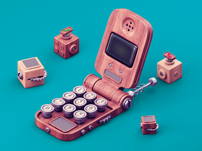 Call from the past 3d c4d illsutration phone flip mechanic modeling cog