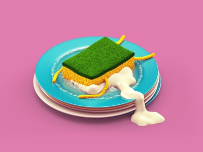 Soaking in character foam dishes sponge illustration c4d 3d
