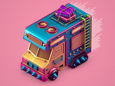 Escaping the City isometric suitcase escape city van rv c4d 3d