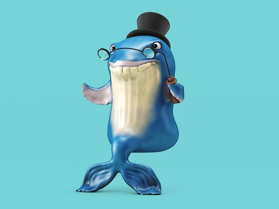Whale Watching tophat glasses watching whale character illustration c4d 3d