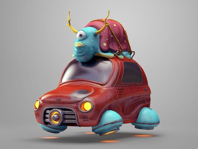 Space Hunt character hunt slug illustration ash space car 3dcoat c4d 3d