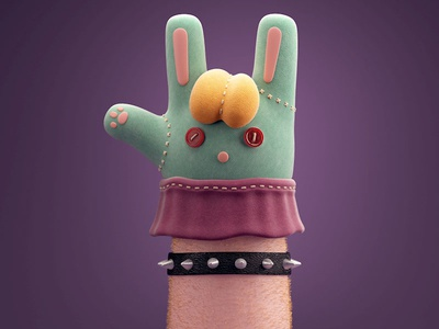 Parenting hand sock puppet rock parenting c4d 3d
