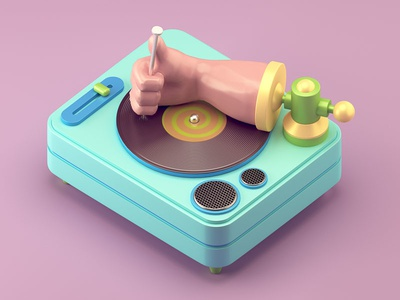 Scratch vinyl heavy hardcore hand nail table turn illustration c4d 3d