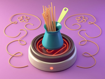 Adulting oven cook dinner spaghetti illustration c4d 3d