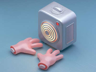 Defrost heater defrost frost hands cold illustration c4d 3d