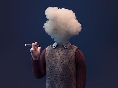 Vaporize head cloud mood stylized cigarette smoke vape c4d 3d