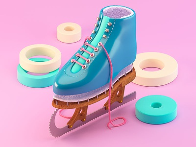 Slippery Slope cut parts abstract saw skate ice illustration c4d 3d
