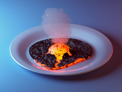 Well done isometric illustration food plate lava magma vulcano fried egg c4d 3d