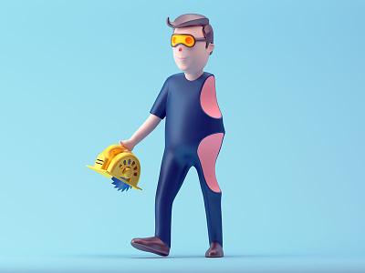 DIY injury home repair cut saw diy illustration c4d 3d