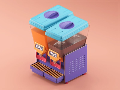 Fruiture dispencer childhood cold machine fruit juice isometric illusrtation future c4d 3d