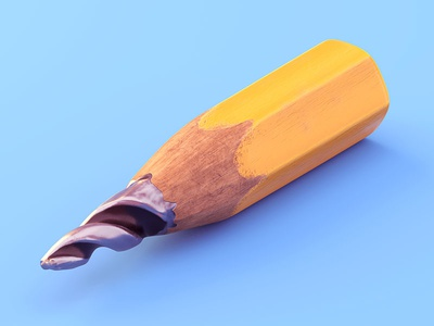 Through Thick And Thin wood graphite drill pencil isometric illustration c4d 3d