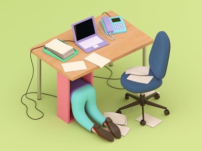 Happy Place escape office work desk isometric illustration c4d 3d