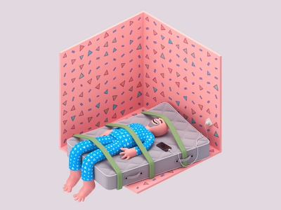 Sleep Tight charger fall man illustration strap tight sleep mobile room c4d 3d