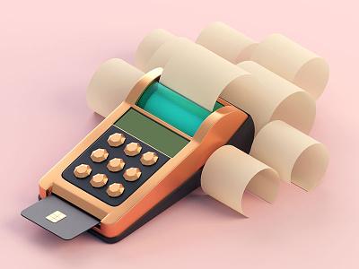 Posh Terminal receipt money card cash terminal pos posh illustration c4d 3d