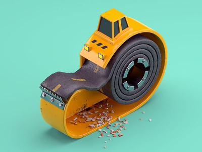 Patch it up tape scotch road construction asphalt model patch illustration c4d 3d