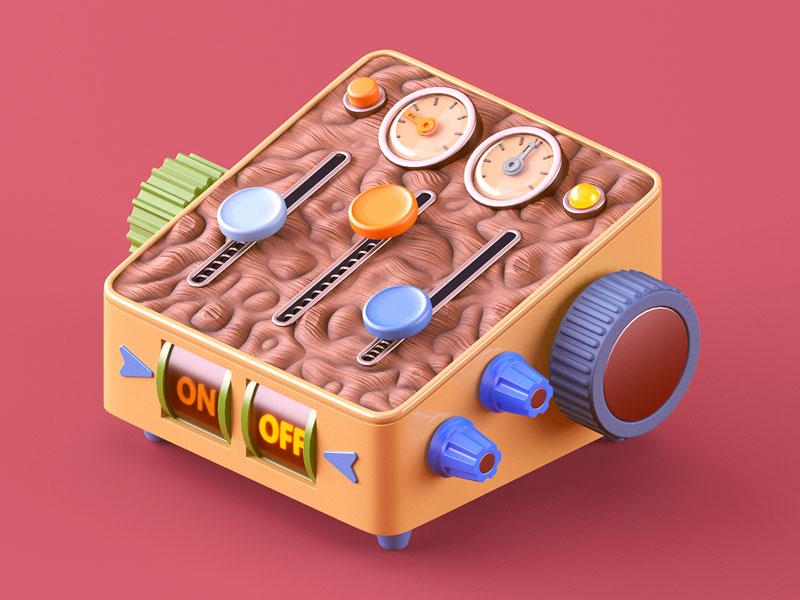 Self-Control brain knobs machine controller control illustration c4e 3d