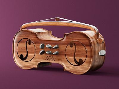 Oldschool Beats wood boombox radio music illustration beats oldschool c4d 3d