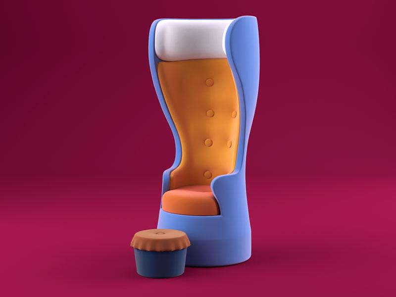 Chillin' render break chair illustration beer c4d 3d