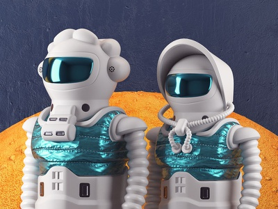 First Settlers settlers 3dillustration mars suits space illustration c4d 3d