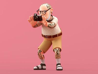 Retirement camera shoot retire tattoo character illustration c4d 3d