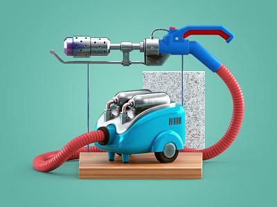 Cleaning Up 3dmodel render vacuum cleaner flamethrower illustration c4d 3d