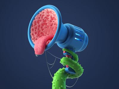 Feed monster tentacle render 3d illustration megaphone illustration c4d 3d