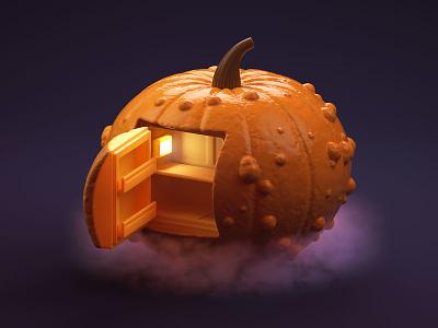 Spooky carving fridge fear halloween pumpkin illustration c4d 3d
