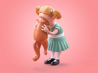 Stuffed Cat stuffed toy cat character illustration c4d 3d