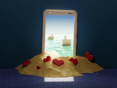 Digital Summer loop illustraion beach sand summer render c4d 3d