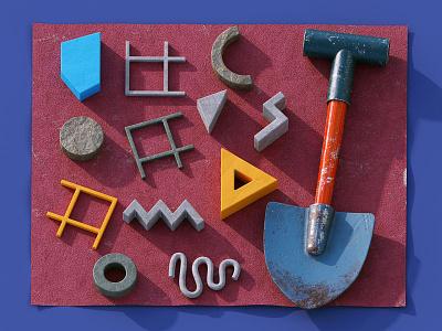 Artefacts render dig illustration c4d 3d