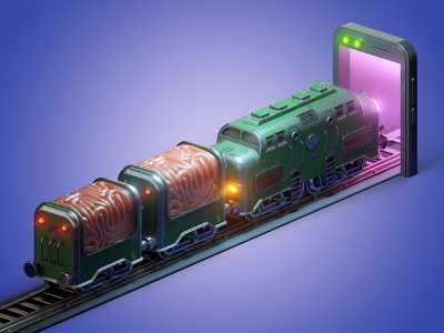 Train of thought rails thought mobile train 3d art c4d 3d