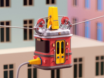 Cable car city data transport car cable c4d 3d