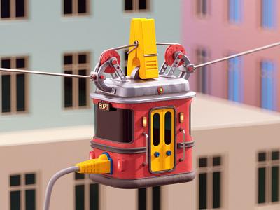 Cable car city data transport car cable c4d 3d