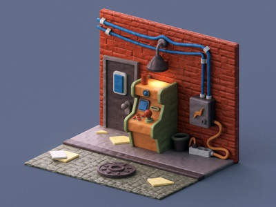 Insert credit clay coin street game atm c4d 3d