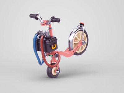 Extra charge illustraion battery scooter c4d 3d